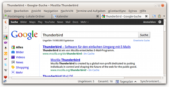 Screenshot Thunderbird mit Google Search Plugin